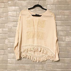 ASTR boho embroidered long sleeve fringe hem top